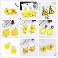 Женские серьги-подвески с желтым цветком, корейские геометрические серьги в форме сердца, креативные милые свадебные украшения, лето 2020