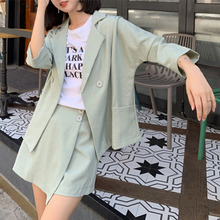 2020 New Summer Woman Sets 2 Pieces Matching Short Pants Three Quarter Bat Sleeve Casual Outfits Buttons Suit