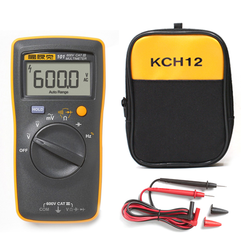 <font><b>Fluke</b></font> 101 AC / DC voltage current capacitor ohm automatic / manual digital multi-function multimeter + convenient soft bag image