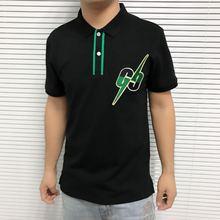 2019 إلكتروني التطريز رجل قميص بولو عارضة نمط الشارع الشهير قصيرة الأكمام مستقيم القطن 100% مصمم الفاخرة الرجال الملابس