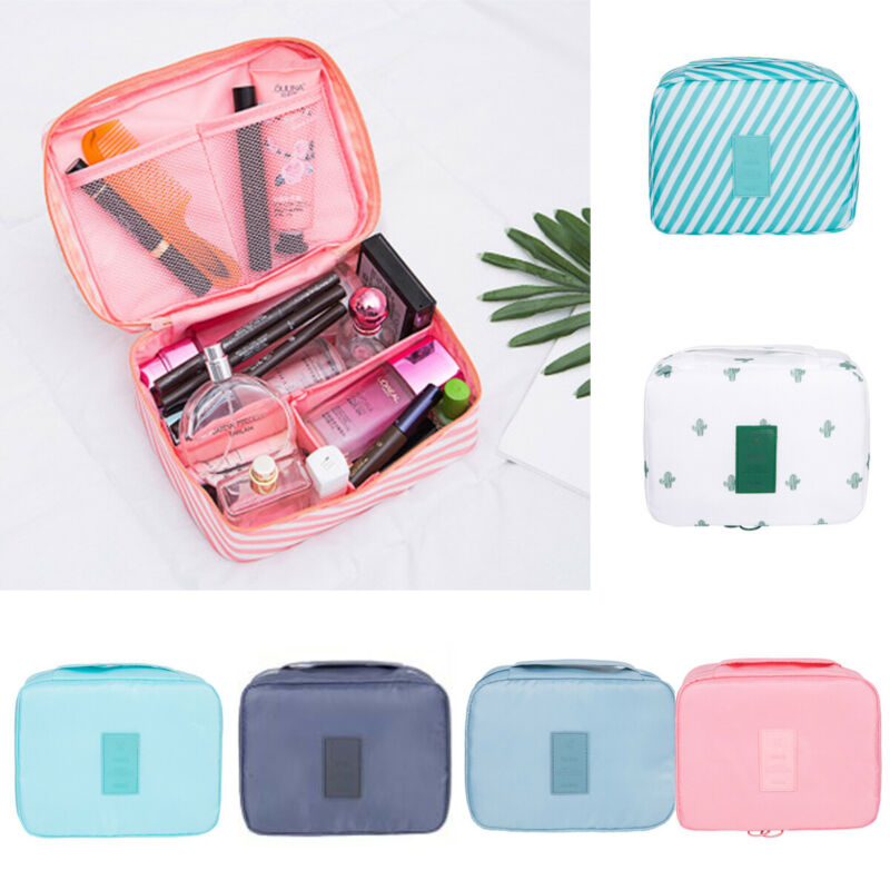 Multifunction Striped Travel Cosmetic Bag For Women Makeup Bags Toiletry Organizer Female Casual Waterproof Storage Make Up Bags