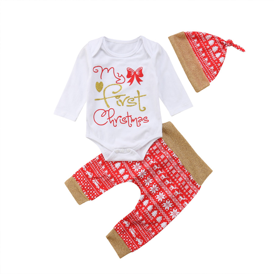 My 1st Christmas Baby Boy Girl Romper Bodysuit Jumpsuit Hat Clothes Outfits US