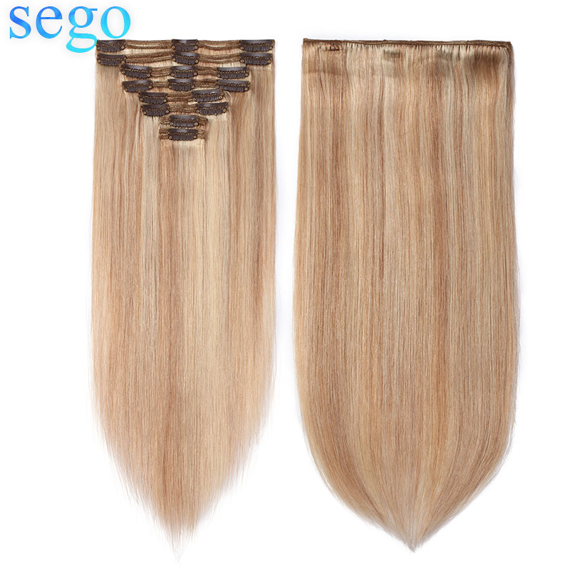 SEGO 110g-170g Straight Clip In Human Hair Extensions Double Drawn Hair Clip Ins Non-Remy 100% Human Hair 8pcs/set 10