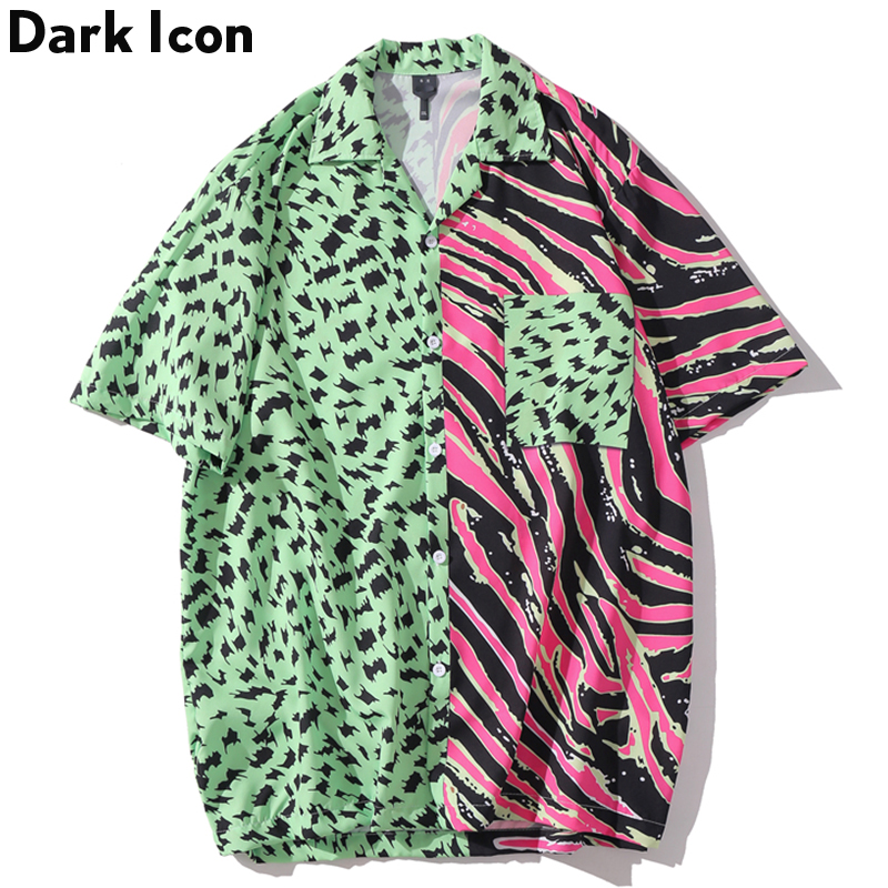 Dark Icon Color Block Patchwork Hip Hop Shirts Turn-down Collar Hawaii Beach Men's Shirts Short Sleeve