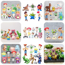Movie Toy Story 4 Cartoon Toys Woody Buzz Lightyear Jessie Forky Action Figure collectible Dolls 3pcs/7pcs/8pcs/9pcs/12pcs/17pcs