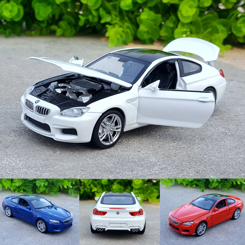 1:32 Free Shipping Alloy Car Model Bmw-m6 Alloy Racing Sports Car Model Sound And Light Back Children Toy Collection