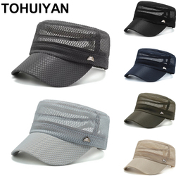 Branded Military Hat For Men Summer Breathable Mesh Army Cap Casual Bone Dad Hats Street Fashion Flat Roof Cadet Caps For Women