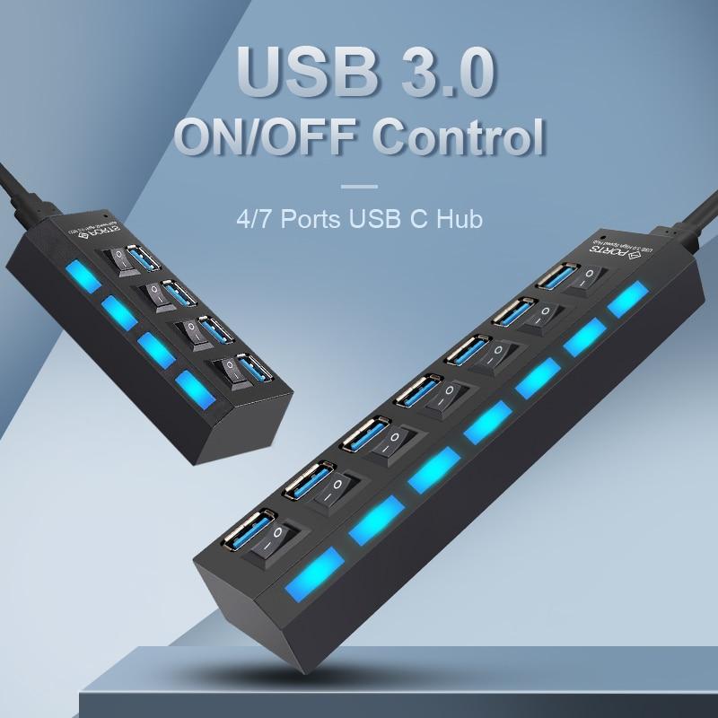 USB HUB 3.0 C Mutil Splitter Type USB-C for PC Macbook Type-C USB-HUB Adapter Multiple Hab 4/7 Port