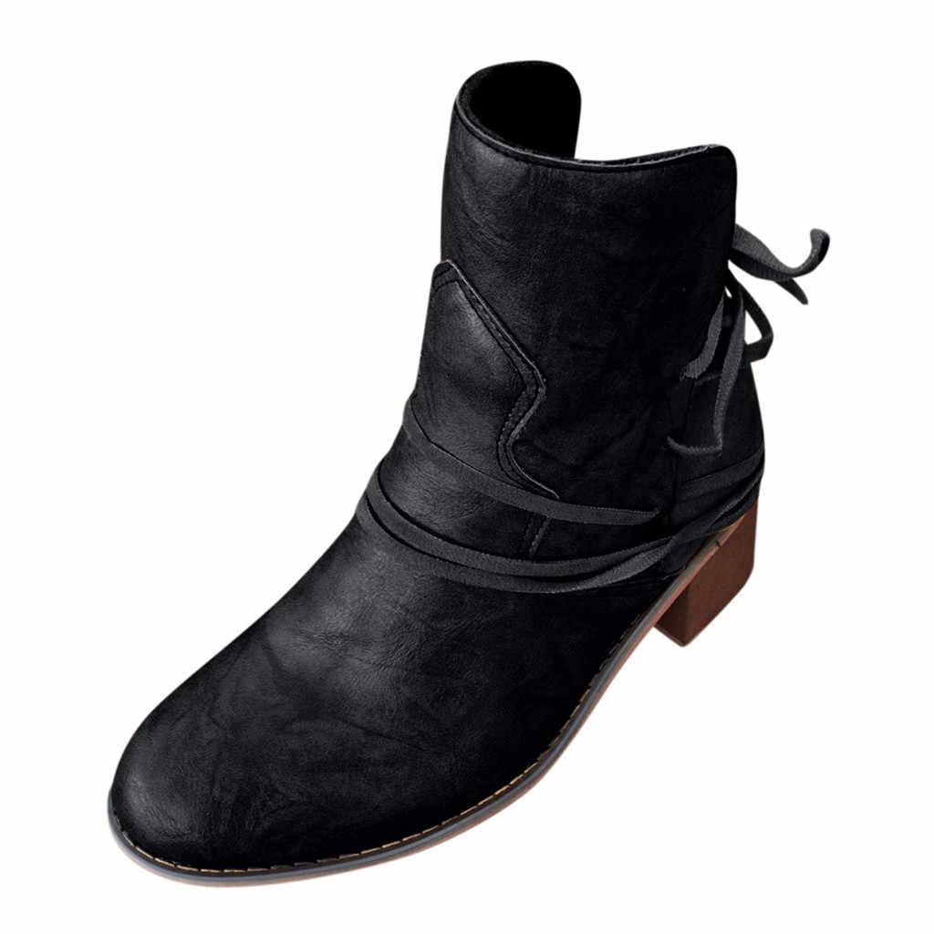 ส้น Pu หนังรองเท้าผู้หญิงข้อเท้ารองเท้าสำหรับสุภาพสตรีสไตล์ตะวันตกหญิงรองเท้าบูทรอบ Toe Botines Mujer 2019