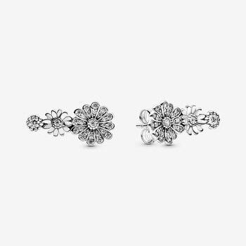 Fashion 100% 925 Sterling Silver Earrings Sparkling Daisy Flower Trio Stud Women Jewelry Gift