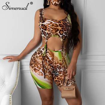 Simenual Leopard Bandage Sexy Bodycon Rompers Women Sleeveless Hollow Out Playsuits One Piece Party Club Biker Shorts Playsuit grey bodycon shorts with hollow design