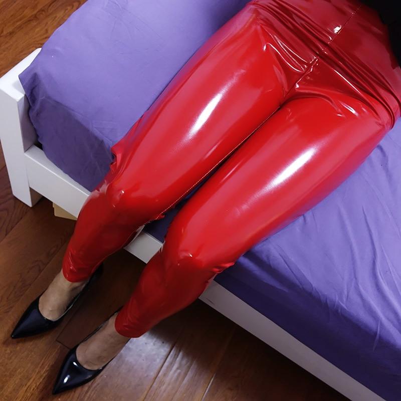 Plastic Lovers Super Bright Patent Leather Tight Bag Hip Pants Female Pu Mirror Elastic Plus Size High Waist Leather Leggings