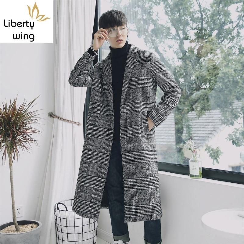 Chic Plaid Men Trench Coat Brand Turn-down Collar Slim Couple Unisex Overcoat Autumn Winter Elegant Teenager Long Jacket S-XXL