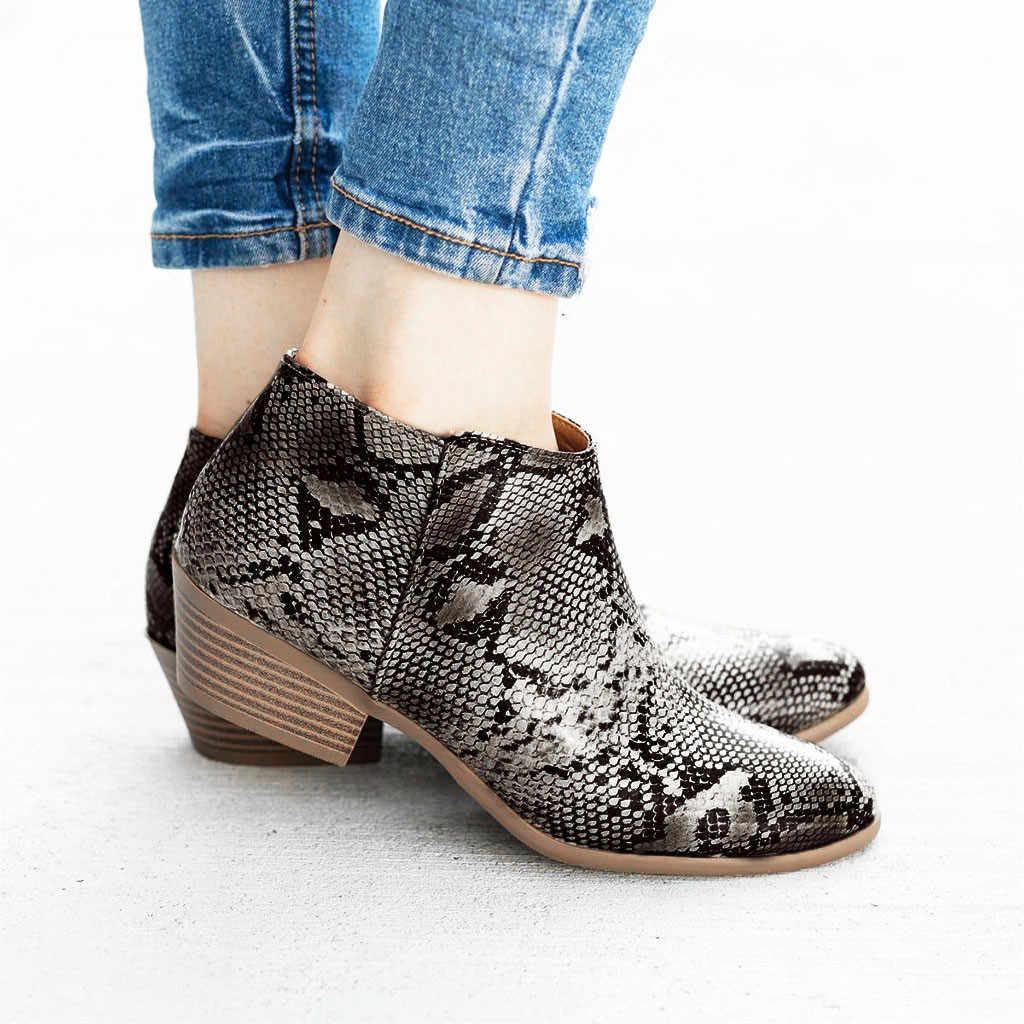 Yeni roma tarzı yarım çizmeler sonbahar kış leopar yılan derisi kadın rahat yarım çizmeler fermuar ayakkabı kadın daireler