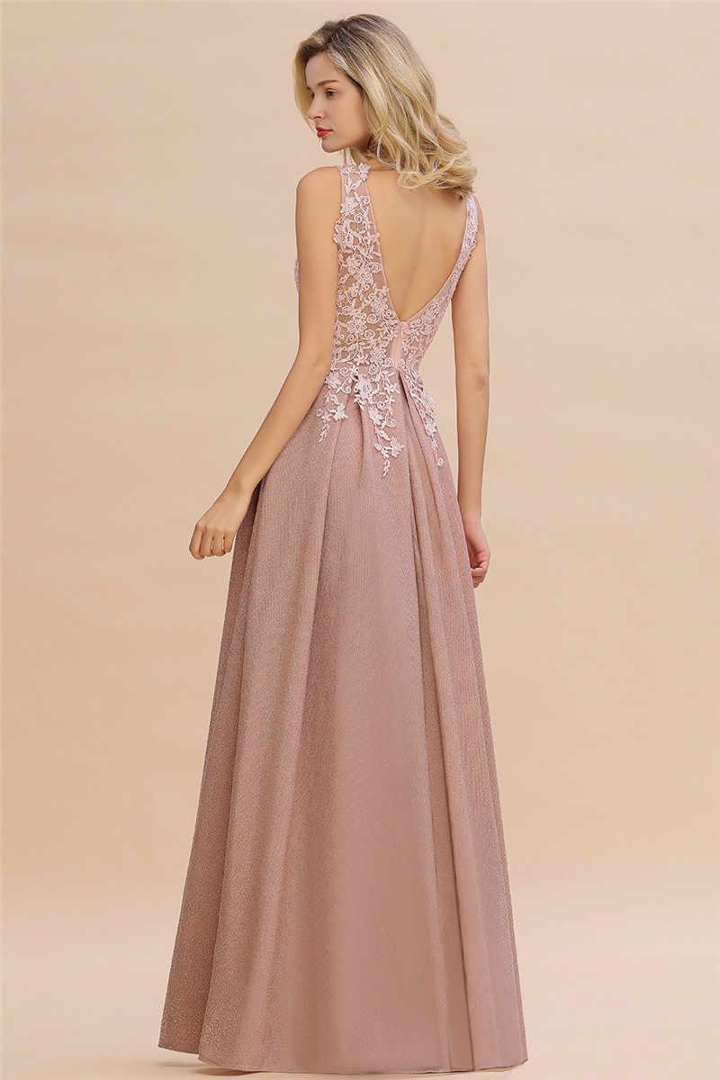 Szata de Soiree Longue Dusty Rose koronkowa długa suknia Vestido de Festa Sexy głębokie dekolt aplikacje suknie wieczorowe na bal