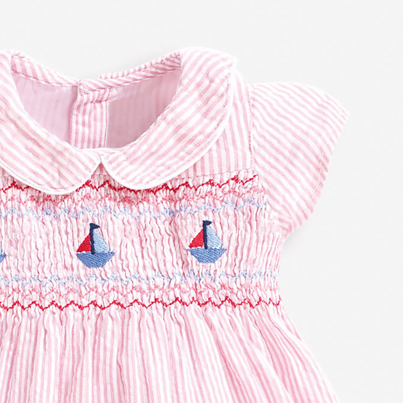 Little Maven 2021 New Summer Baby Girls Clothes Brand Dress Toddler Cotton Striped Boat Print Dresses for Kids 2-7 Years S0958 3