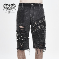 Devil Fashion Men's Punk Shorts Handsome Fashion Loose Broken Hole Daily Short Pants
