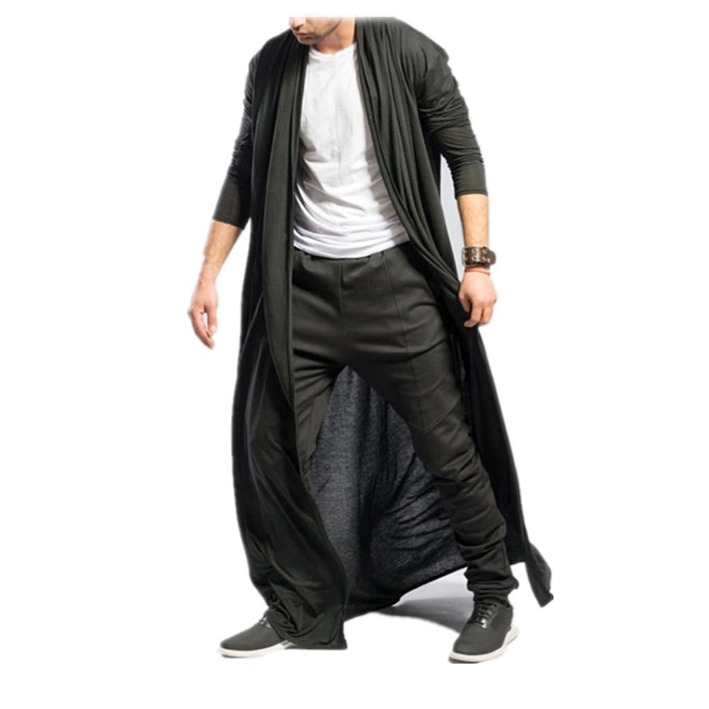 H5b50d90e34ff498d8f83a7009692ae162 Feitong Men's Cardigans Casual Slim Solid Long Shirt Tops Long Coat Outerwear Plus Size