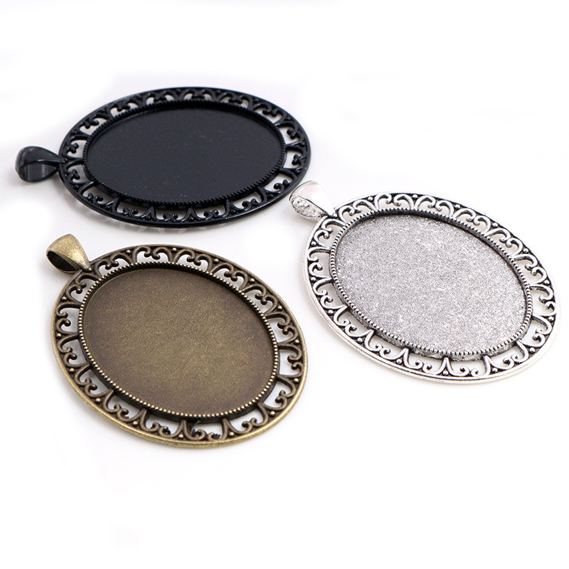 New Fashion  5pcs 30x40mm Inner Size Antique Silver Plated Bronze Black Pierced Style Cabochon Base Setting Charms Pendant