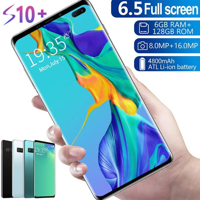 KIMTIEN S10+ Smartphone FullScreen 6GB+128GB 8 core Android 9.1 Finger Face ID Dual Camera 4G Smart Mobile Cell Phone Handset