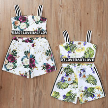 Toddler Kids Baby Girls Clothes Suit Striped Off Shoulder Vest Tops Floral Shorts Outfits Sleeveless Summer Clothing For Girl(China)