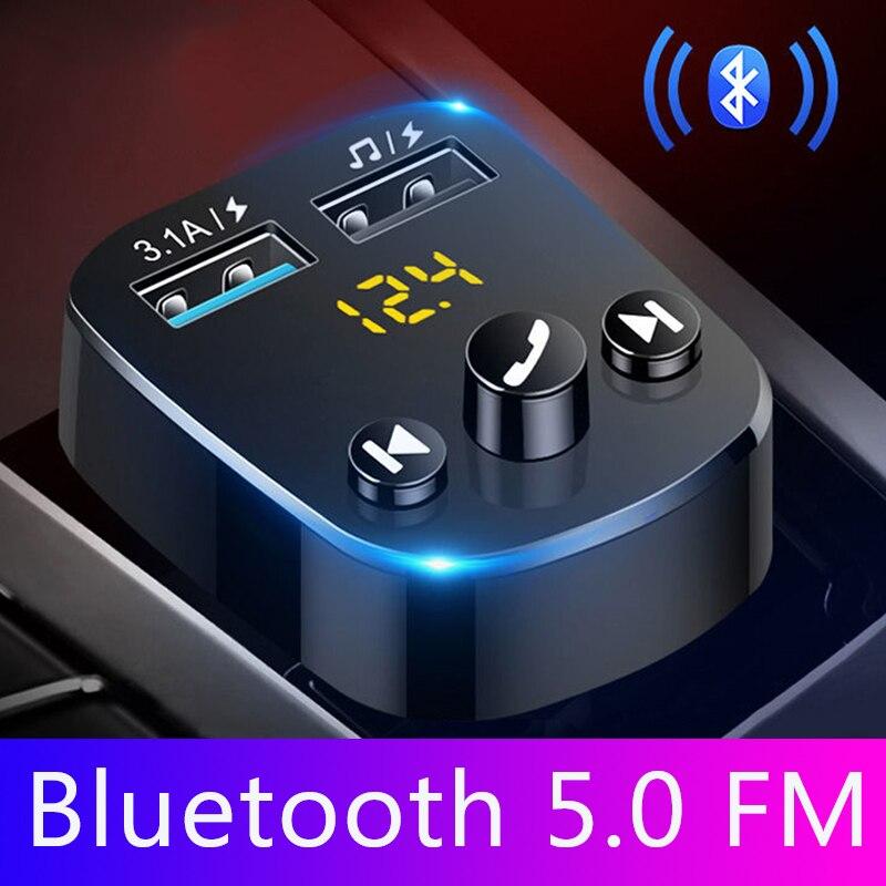 Автомобильный комплект JINSERTA, Bluetooth 5,0, громкая связь, mp3 плеер, fm передатчик, двойное зарядное устройство USB 3,1 А, U диск, автомобильный модулятор FM-трансмиттеры      АлиЭкспресс