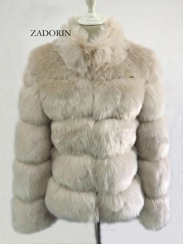 pelz Fuchs Pelz gilet ZADORIN Stehen Frauen Jacke Mantel Faux Mantel 55 Größe Langarm Neue Winter Frauen Plus Kragen Faux 2019 US49 Pelz 39OFF yv67Ybfg
