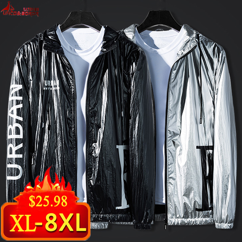Plus size 6XL <font><b>7XL</b></font> 8XL nylon reflective jacket men harajuku windbreaker jackets hooded hip-hop Fleece streetwear leather <font><b>coats</b></font> image