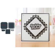 Square Flower Shape Frame Birthday Words Metal Cutting Dies Scrapbooking Album Paper DIY Cards Crafts Embossing New 2019
