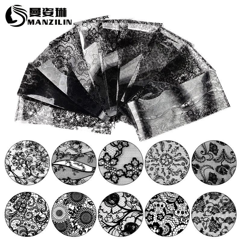 AliExpress Hot Selling Manicure Black Lace Star Stickers Nail Sticker Star Paper 10 Mixed 20 Cm