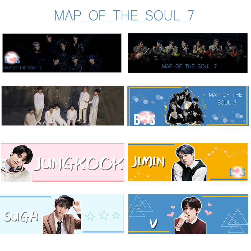 Kpop JIMIN SUGA RM JUNGKOOK V JHOPE JIN New Album Map Of The Soul:7 Hand Painting Banner Toy Gift