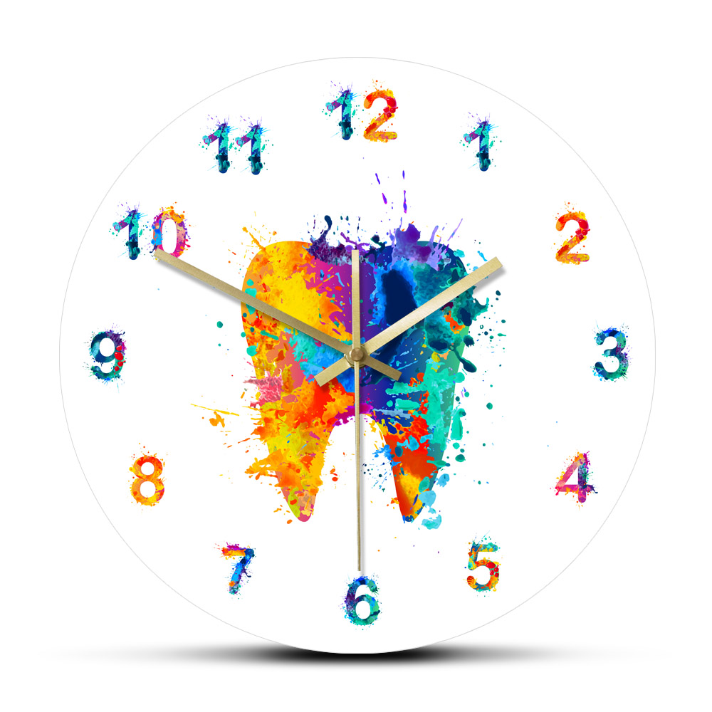 Watercolour Tooth Painting Print Wall Clock Medical Dental Clinic Wall Art Non ticking Wall Watch Orthodontist Dentist Gift Idea(China)