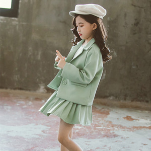 Image 5 - Meisjes Kleding Plooirok & Jas Meisjes Kleding Effen Bovenkleding Pak Voor Meisjes School Uniform Mode Kid Winter Kleding