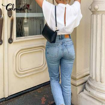 2020 Summer Celmia Women Solid Blouses Casual Short Ruffles Sleeve OL Tops Ladies Elegant Shirt Plus Size Back Zipper Blusas 5XL 2