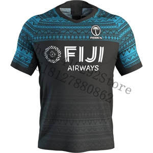 JERSEY REPLICA Number-Order Fiji Custom-Name Black AWAY for 1-Piece 7-Person RUGBY Embroidery