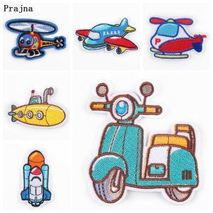 Cartoon Plane UFO Patch Iron on Embroidered Patches for Clothing Bird Badge To Cloth Hook Loop DIY Applique Decoration Apparel