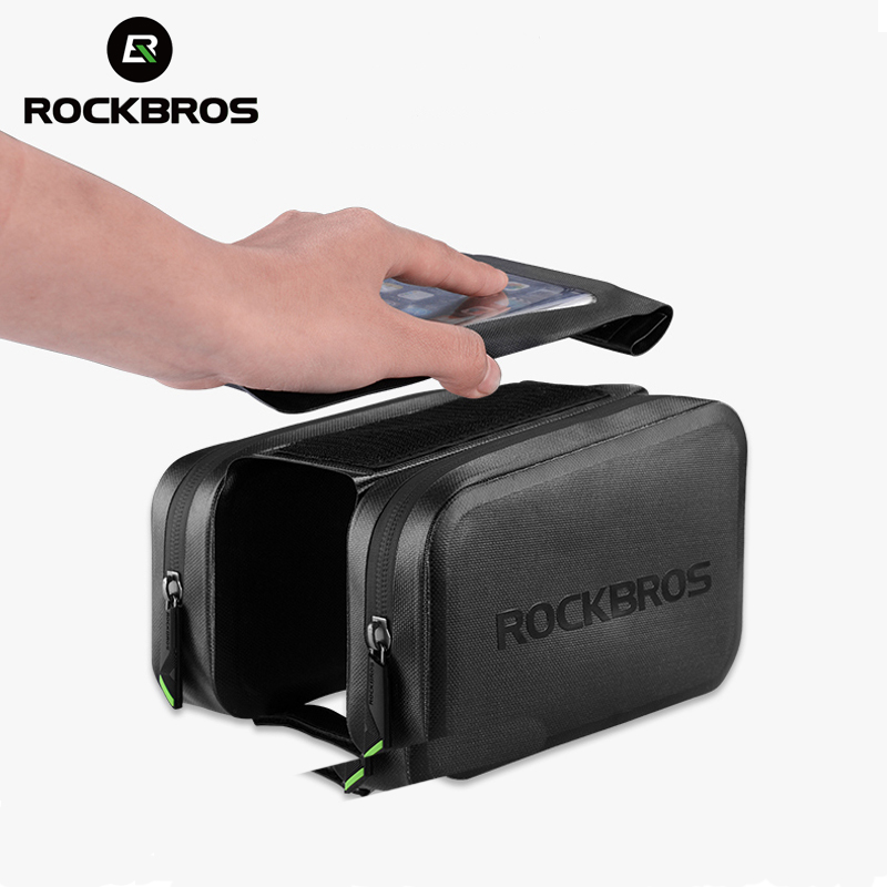 ROCKBROS 6.0 Phone Cycling Waterproof Bicycle Bike Bag Touch Screen MTB Top Tube Frame Pannier Rainproof Accessories