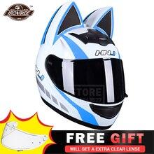 כחול אופנוע קסדת נשים אופנוע אופנוען Moto קסדת אוזן קסדה מלא פנים מנוע Capacete מוטוקרוס Capacete דה Moto
