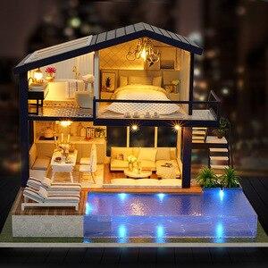 DIY dom z meblami dla dzieci dorosły miniaturowy drewniany domek dla lalek zestaw klocków domek dla lalek (apartament czasu)
