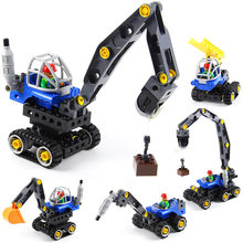 5IN1 Deformation Bricks Construction vehicle Car Model Compatible Duploed Building Blocks toys for children gifts