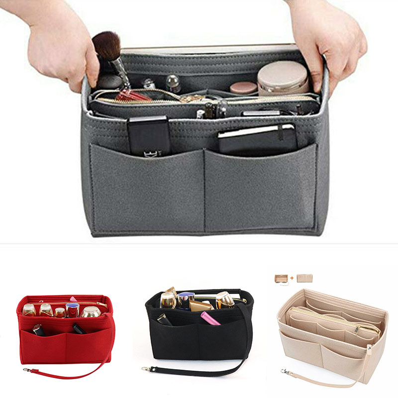Felt Purse Insert Organizer Portable Cosmetic Bag Fit For Handbag Tote Various Bag Multifunction Travel Lady Travel  H66