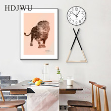 Nordic Simple Art Home Canvas Wall Picture Animal Lion Creative Decoration Poster for Living Room  DJ295