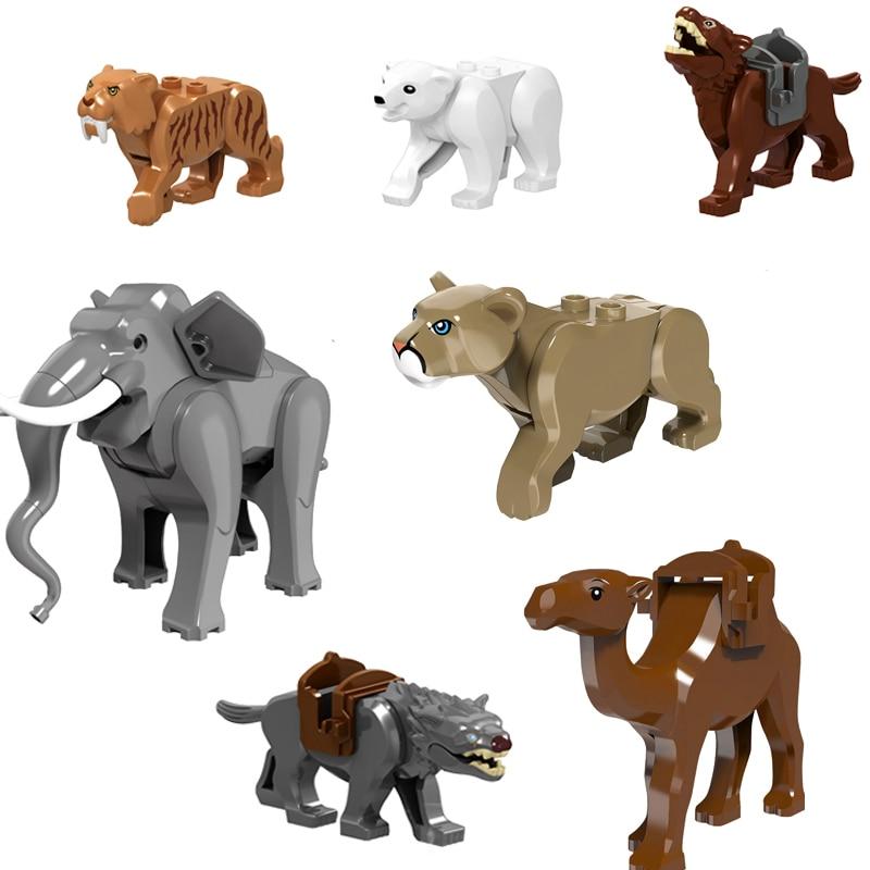 Фигурки животных, фильмы, город, строительные блоки, полярный медведь, птица, волк, слон, тигр, детские игрушки для детей, совместимые с фигур...
