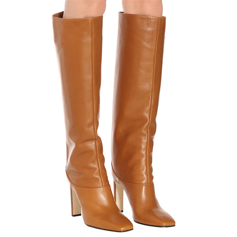 Image 5 - FEDONAS Fashion Women Knee High Boots Autumn Winter Warm Party Shoes Woman Square Toe High Heeled Motorcycle Boots Long Shoes-in Knee-High Boots from Shoes