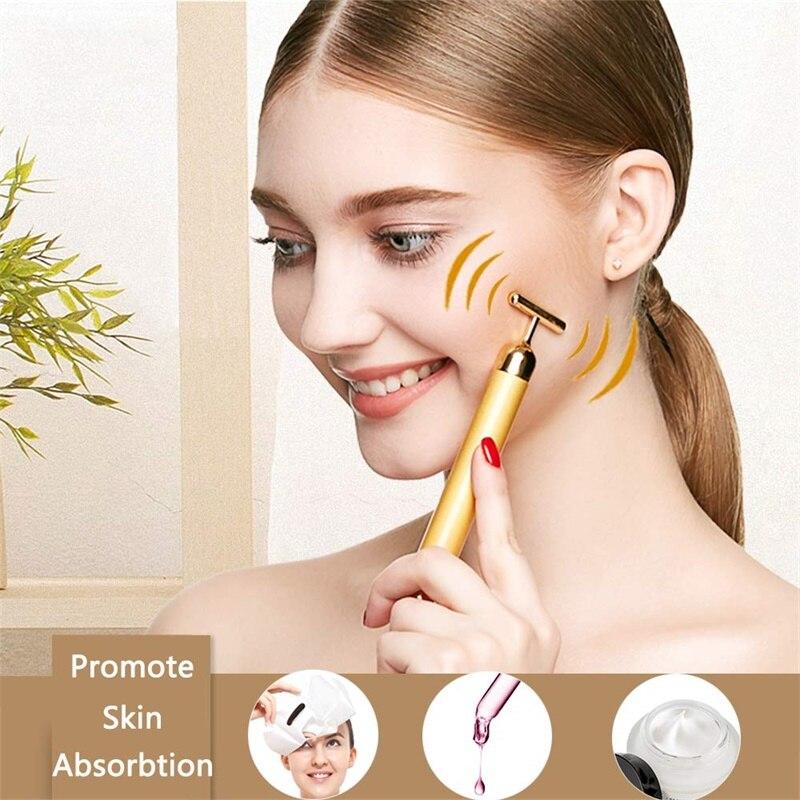 Gold Vibrating Facial Massager Slimming Facial Beauty Bar Pulse Firming Face Massage Lift Wrinkle Stick Slimming Face Roller