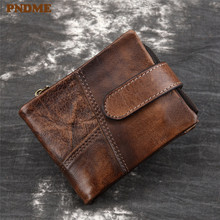 PNDME vintage handmade stitched genuine leather men's wallet cowhide hasp short ID business card holder designer ladies purse