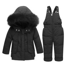 Kids Winter Down Jacket Set Children Warm Medium Long Toddler New Year Clothing Boy Girl Infant