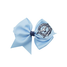 5 inch embroidery hair bows Private custom bow accept Customized logo clip Ribbon Hair accessory