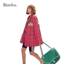 2020 Autumn cartoon sequins jackets fashion plaid women bf long Blazers