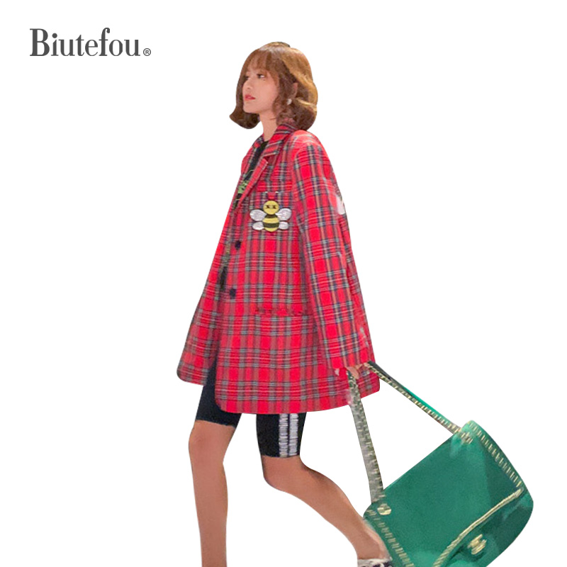 2020 Spring Cartoon Sequins Jackets Fashion Plaid Women Bf Long Blazers